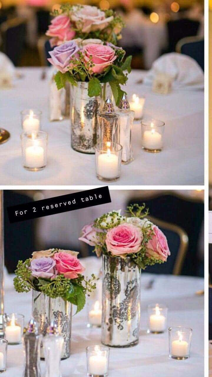 party gear centerpieces decorate with beautiful flower and candle