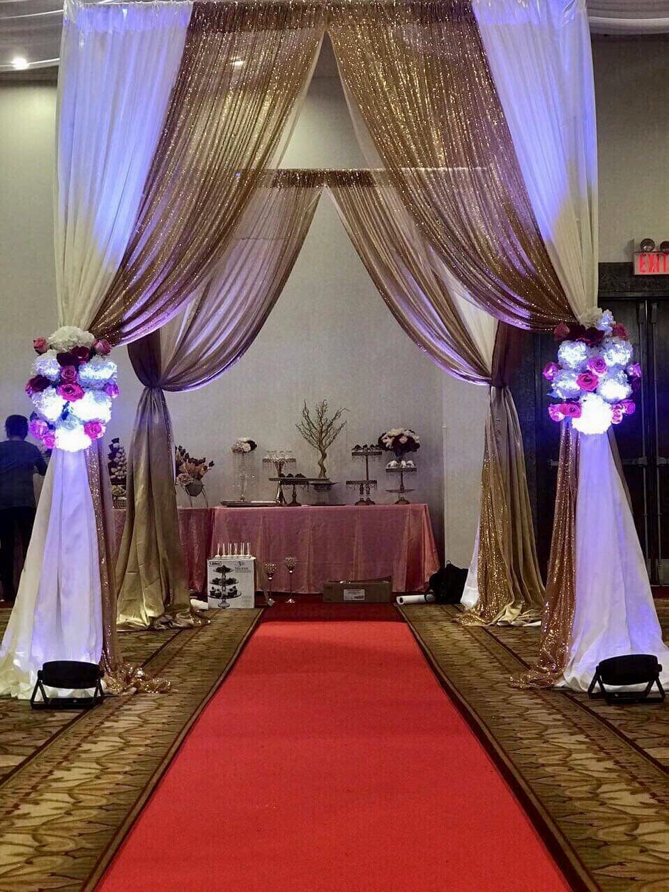 Party Gear aisle decor with beautiful backdrop and flower
